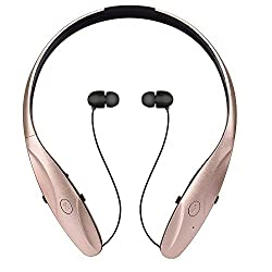 Bluetooth Headphones Bluetooth4.1 Built-in Microphone CVC6.0 Noise Cancellation Earbud Hand-free Neckband Retractable Headset for Sport running gym Lightweight Sweatproof for IOS Android Cell Phone H-Gold