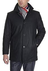 Tommy Hilfiger Mens Wool Blend Car Coat Solid Black
