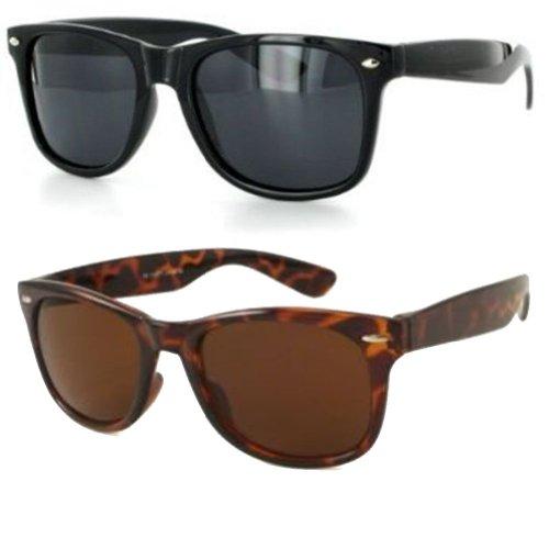 80's Style Vintage Wayfarer Classic Sunglasses- Combo Set of Black N Brown (Vintage Glasses 80 compare prices)