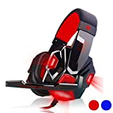 Mailat Surround Stereo Gaming Headset Headband Headphone USB 3.5mm LED with Mic for PC (Red)