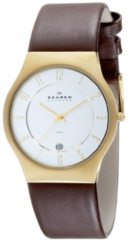 Skagen Men's 233XXLGL Brown Leather Watch