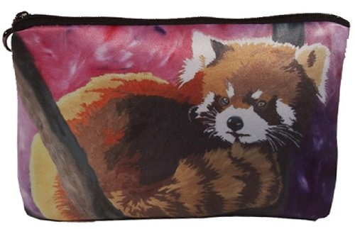 Red Panda Cosmetic Bag, Zip-top Closer - Taken From My Original Paintings (Red Panda- Shy Beauty)