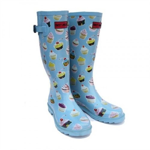 Womens & Girls Cupcake Print Festival Concert Slip On Wellingtons in Blue
