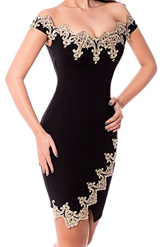 Alvaq Women's Gold Lace Applique V Neck Backless Off Shoulder Mini Dress