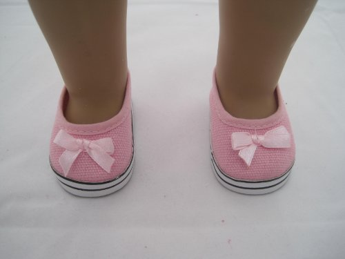 Casual Pink Shoe with Bow for American Girl Doll and 18 Inch Dolls