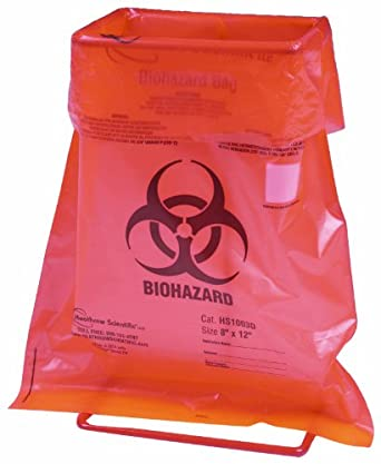 Heathrow Scientific HD10044H Steel Wire Biohazard Bag Holder, 128mm Length x 91mm Width x 214mm Height