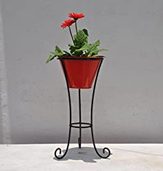 Green Gardenia Iron Pot stand with metal pot Red