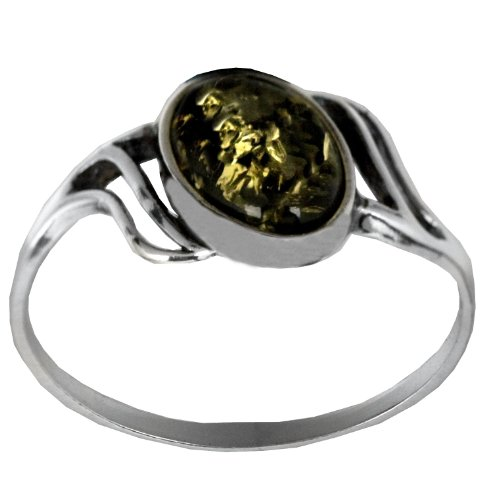 Sterling Silver Green Amber Small Oval Ring, Size 6