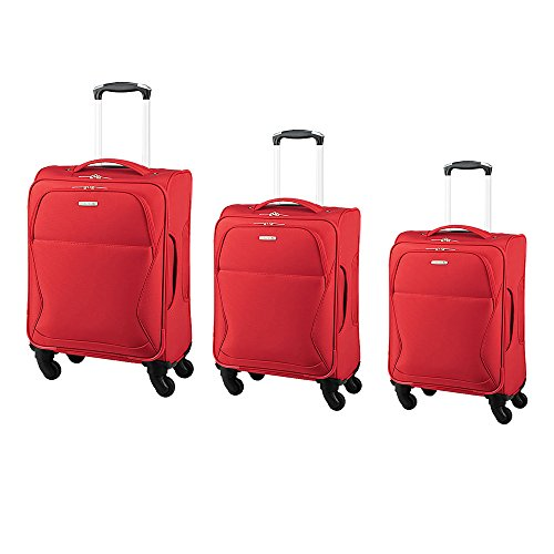 Red Redberry SP-6 CT449, 4 Wheel Trolleys, Bundle, 48 Cm, 58 Cm, 68 Cm-Red - Set Of 3