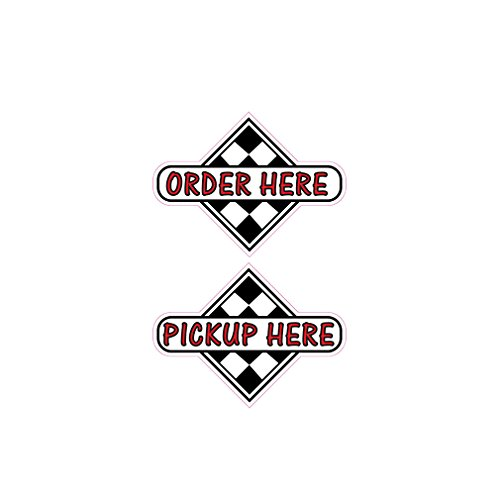 Order Here Pick Up Here Concession Restaurant Food Truck Die-Cut Vinyl Sticker 10 inches (Restaurant Order Sign compare prices)