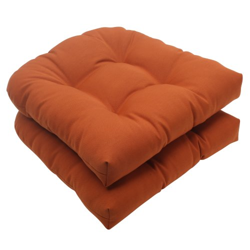 Pillow Perfect Indoor/Outdoor Cinnabar Wicker Seat Cushion, Burnt Orange, Set of 2 picture