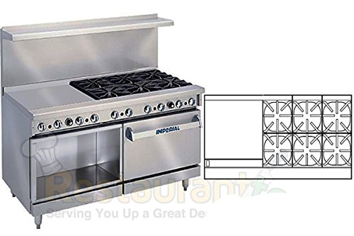 "Imperial Commercial Restaurant Range 60"" With 6 Burner 24"" Griddle Oven/Cabinet Propane Ir-6-G24-Xb front-633263"