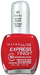 Maybelline New York Express Finish 50 Second Nail Color, Racy Red 160, 0.5 Fluid Ounce