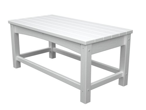 Polywood Outdoor Furniture Club Coffee Table White Recycled Plastic Materials Patio Table