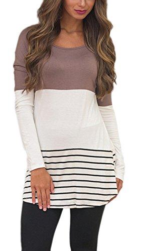 Summer-Mae-Womens-Long-Sleeve-Striped-Shirt-Back-Lace-Blouse-Tunic