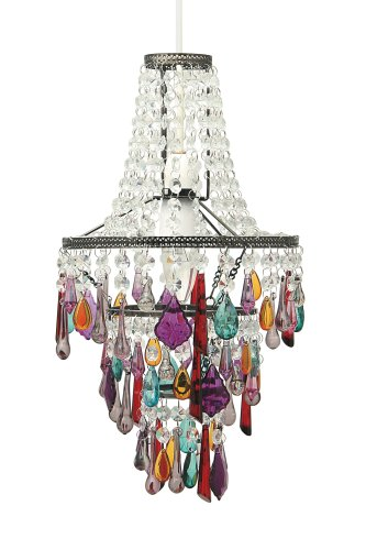 Aimbry Shimmer Multi Colour Three Tier Crystal Ceiling Pendant Light