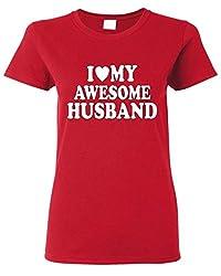 Shop4Ever® I Love My Awesome Husband Women's T-Shirt Couple Shirts