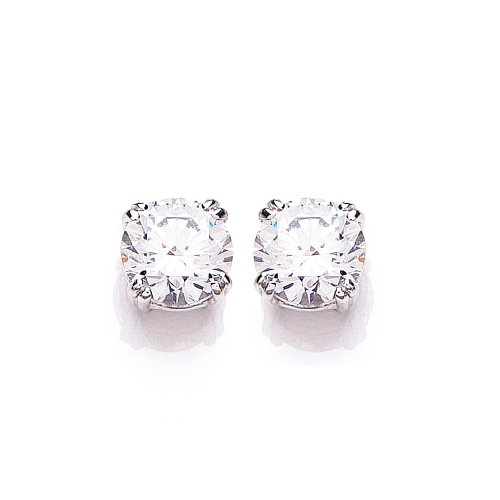 9ct White Gold Swarovski Enlightened C.Z. French Fitting Round Stud Earrings