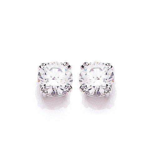 9ct White Gold Swarovski Enlightened C.Z. French Fitting Round Stud Earrings