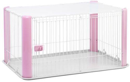 Iris Usa Deluxe Wire Pet Dog Play Pen, Large, Pink front-10907