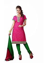 AASRI Party Wear Cotton Embroidered 3 Piece Unstitched Salwar Suit 6001