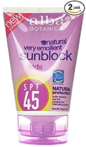 Alba Botanica SPF 45 Sunblock for Kids, 4 Ounce -- 2 per case.