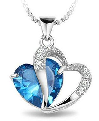 Rhodium plated 925 silver diamond accent blue sapphire heart shape rhodium plated 925 silver diamond accent blue sapphire heart shape pendant necklace 18 sn3017bs aloadofball Image collections