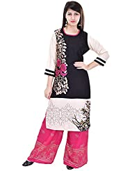Khushfashions Women's Black & Pink Color Printed Kurti & Plazoo