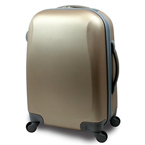 【SUCCESS サクセス】 【 アウトレット スーツケース ( 中型 Mサイズ / 小型 Sサイズ ) 超軽量 キャリーケース 4輪 【AT-2064 シングル ファスナーモデル 】 (小型 Sサイズ(55cm), ライトゴールド)