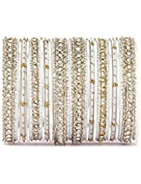 Elegant All Silver Thread Bangle Set By Leshya For Two Hands