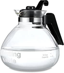 Medelco 12-Cup Glass Stovetop Whistling Kettle by Medelco