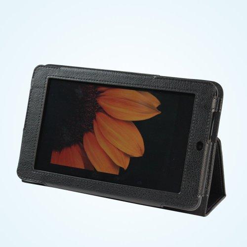 Manvex Slim Leather Folio Case Cover For The Asus Memo Pad 7 Me172V - Black