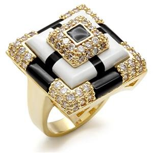 RIGHT HAND RING - Gold Tone Black and White Boutique Style Cubic Zirconia Ring