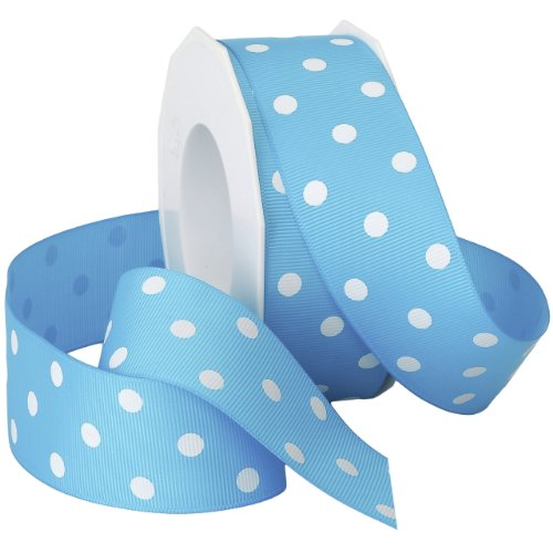Morex Grosgrain Dot Ribbon, 1-1/2-Inch by 20-Yard Spool, Turquoise with White Dots