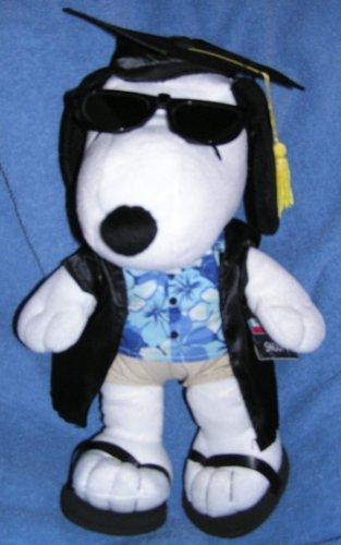 "Hallmark Peanuts Plush 15"" Snoopy Graduation Doll In Cap & Gown, Flowered Shirt & Shorts"