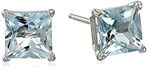 10k White Gold 6mm Square Aquamarine 4-Prong Stud Earrings