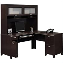 Big Sale Bush Furniture Tuxedo L-Shape Wood Computer Desk Set with Hutch in Mocha Cherry