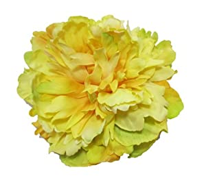 Yellow Real Touch Peony Bloom Hair Flower Clip