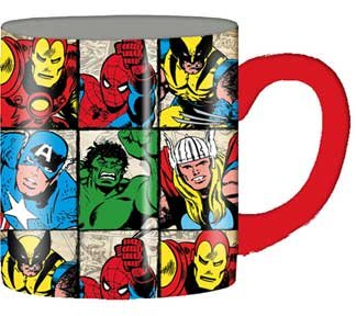 Silver Buffalo Marvel Characters Grid Ceramic Mug, 14 Ounces, Multicolored (Mc6132)