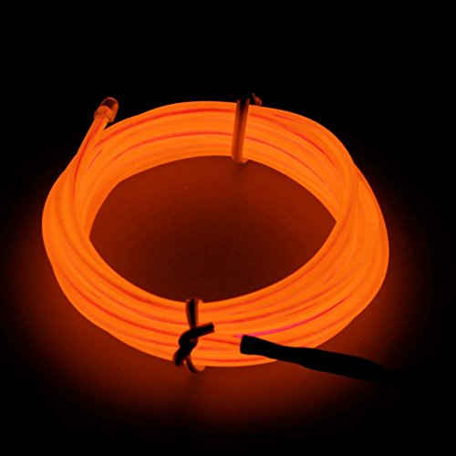 5M Led Neon Light El Wire W/ Battery Pack With Controller Parties Halloween, Orange