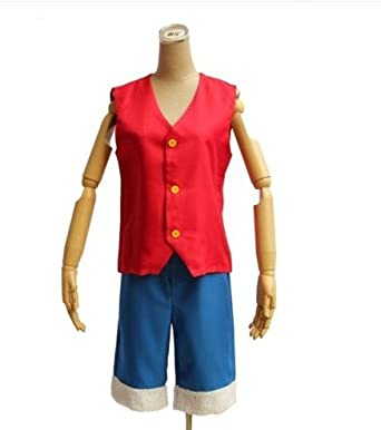 Japanese Anime cosplay costumes OnePiece Straw Hat Luffy(This cosplay package includes Luffy's Red Vest and signature blue pants)-M