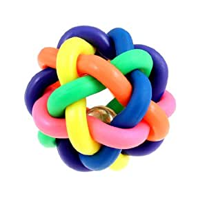 Uxcell Rubber Rope Twist Tinkle Bell Cat Knotty Ball Toy, Multicolor