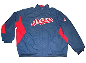 Cleveland Indians Majestic Navy Red Full-Zip Performance ThermaBase Jacket (4XL) by Majestic
