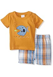 Cutie Pie Baby-Boys Newborn Plaid Shorts Set-Fish