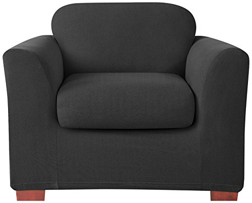 Sure Fit Stretch Cavalry Separate Seat Chair Cover, Black front-938219