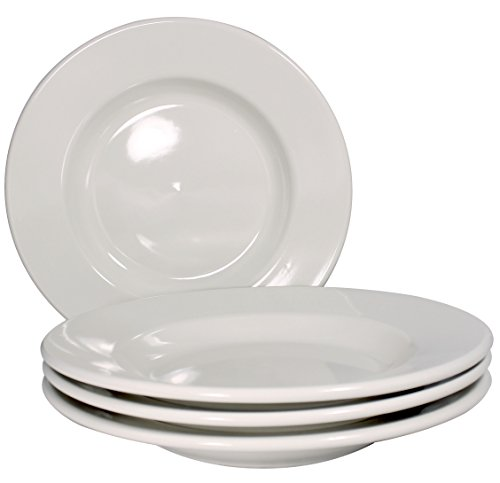 Ceramic Dinner Pasta Bowls, 12 Inch, Set of 4, Bone White (Commercial Pasta Bowls compare prices)