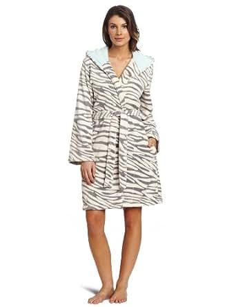 Dearfoams Women's Hooded Contrast Color Robe, Zebra, Small