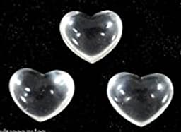 3 Clear Quartz Gemstone Puffy Hearts Each Organza Pouch