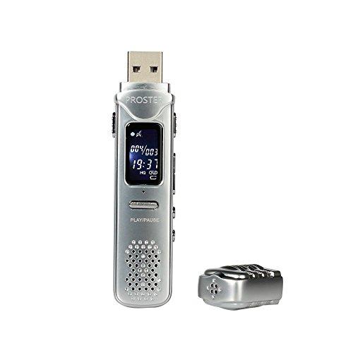 Proster USB Registratore Vocale, 8GB Mini Registratore Audio Digitale - Dispositivo Registrazione Audio Suono 30 Ore con Auricolari per Riunioni, Presentazioni, Interviste, ecc