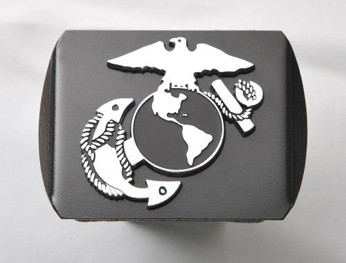 "Buy US Marine Corps USMC EGA 3D Chrome Emblem on Black Trailer Metal Hitch Cover Fits 2"" Receiv..."